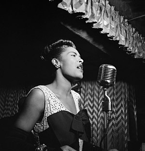 English: Billie Holiday, Downbeat, New York.