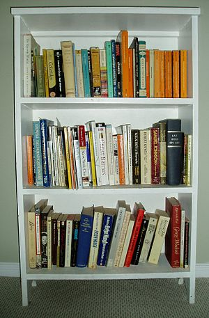 A bookcase filled with books.