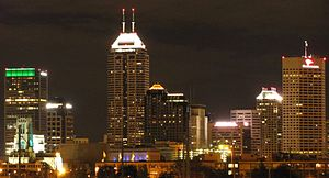 English: Indianapolis skyline on the night of ...