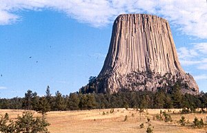 Devils Towers West wall is a direct vertical c...