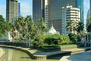 View of Masjid Jamek and the confluence of Gom...