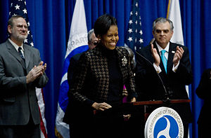 First Lady Michelle Obama speaking at the Depa...