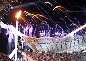 The Olympic Flame during the Opening Ceremony ...