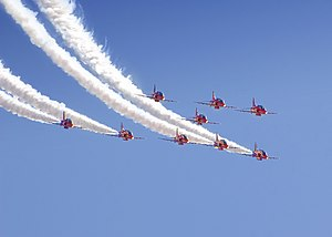 The Red Arrows in flight during the 2009 Radom...