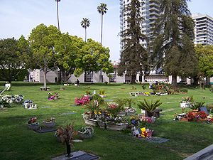 English: Westwood Village Memorial Park Cemetery view to northeast