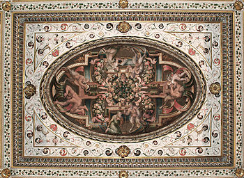 Este Castle of Ferrara, Ceiling of the Governm...