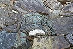 "Photo of the ""old widow's stone"" covered with a wire net"