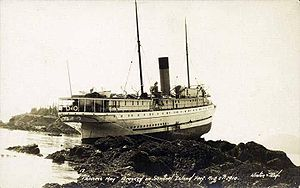Princess May (steamship) aground on Sentinel I...