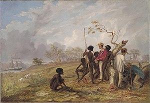 Thomas Baines, Thomas Baines with Aborigines n...