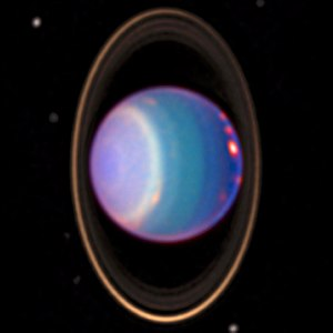HST image of Uranus showing cloud bands, rings...