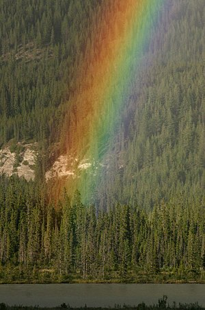 This photo shows the place where the rainbow r...