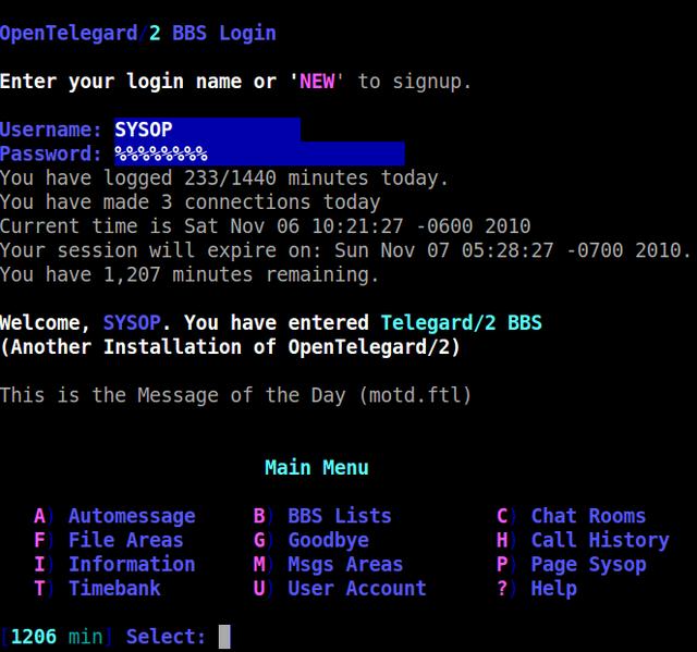 Image of the Open Telegard logon screen courtesty of Chris Tusa