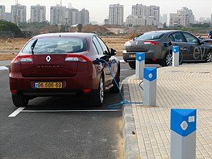 English: EVs charging at the Better Place visi...