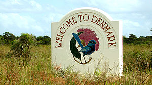 English: Denmark sign with logo along the Sout...