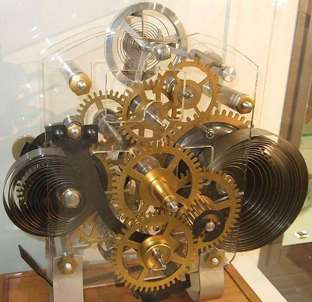 Mecanismo de un reloj de resortes.