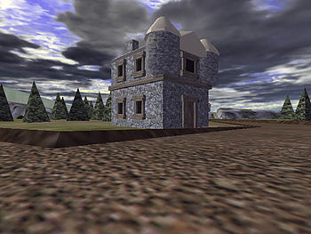 Interior view of a small village in a virtual ...