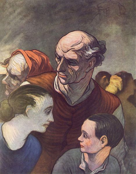 Honoré Daumier (1808-1879): The family on the barricades.