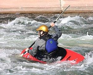 Playboater tilting his boat in Pueblo...