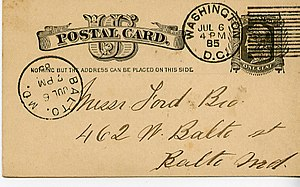 English: Postal card mailed from Washington, D...