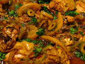 Moroccan food-Chicken tagine with preserved le...