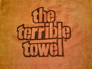 Original commercially marketed Terrible Towel, sold exclusively by Gimbel's Department Store, circa. 1976.