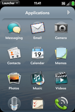 Palm webOS Launcher Screenshot