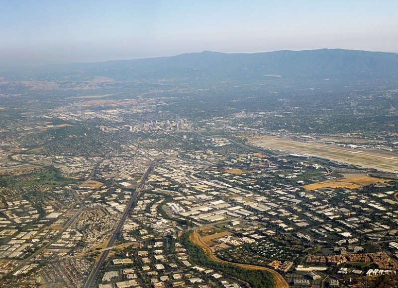 Silicon Valley, from over north San Jose, facing southward towards Downtown San Jose, in June 2014