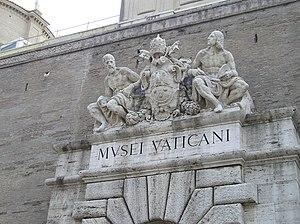 Vatican - musei Italiano: La targa sull'ingres...