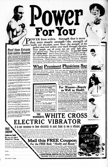 White Cross Electric Vibrator Advertisement.
