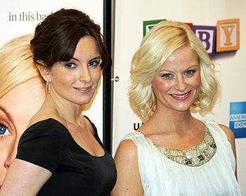Amy Poehler and Tina Fey at the premiere of Ba...
