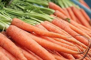 Carrots on display at local greengrocer