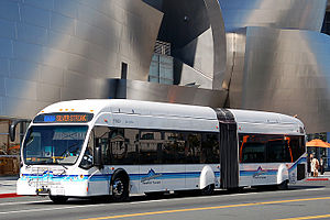 English: A NABI 60-BRT articulated bus owned a...