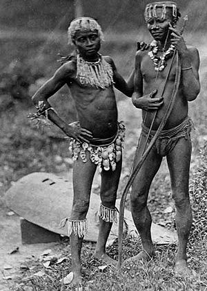 Two Great Andamanese men, in an 1875 photograph