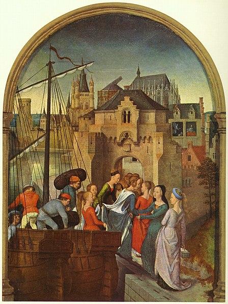 widok katedry w Kolonii na obrazie Hansa Memlinga