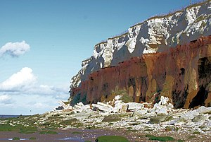 English: Hunstanton Cliffs Cretaceous Period. ...