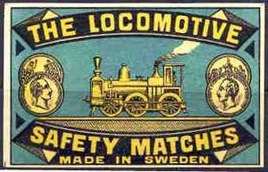 English: A Locomotive Safety Matches label (Sw...
