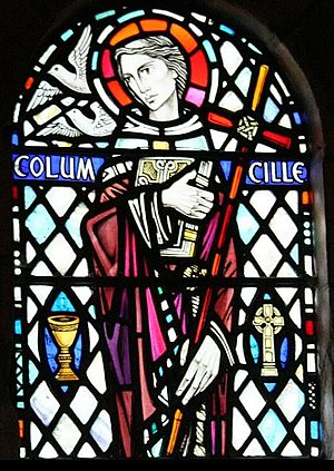 English: Stained glass window in Oban. This is...