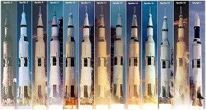 Коллаж запусков ракетыносителя «Сатурн5»