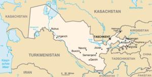 Deutsch: Karte von Usbekistan