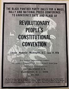 Affiche des Black Panthers appelant à la convention des Black Panthers à Washington D.C