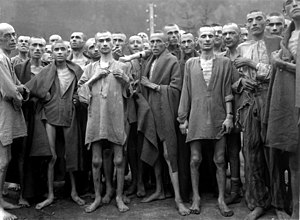 English: Starved prisoners, nearly dead from h...