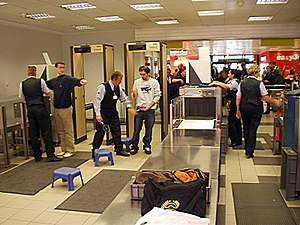 Metal detectors at an airport