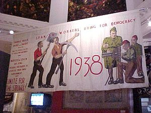 Hanging depicting the International Brigades f...