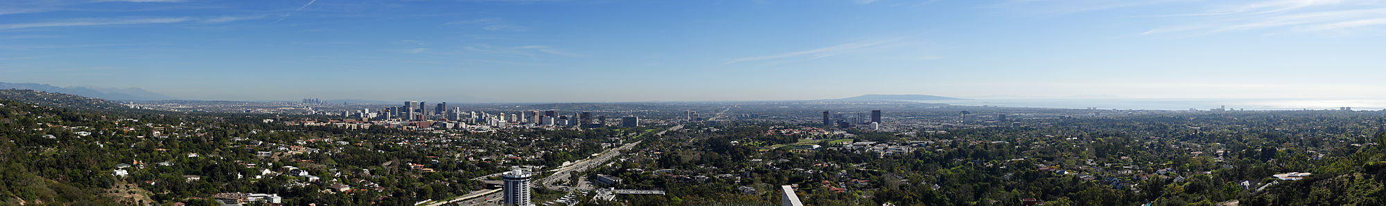 The near 180 degree panoramic view of Los Angeles looking south from the Getty on an exceptionally clear day. The 405 freeway intersects the view