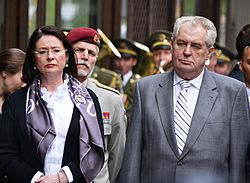 Zeman (right) and Miroslava Němcová, former Speaker of the Chamber of Deputies of the Parliament of the Czech Republic (May 2013). In June 2013, the Civic Democratic Party (the leading party of the parliamentary coalition government) nominated her for the post of the Prime Minister; however, Zeman refused to appoint her and instead chose his long-time ally and friend Jiří Rusnok