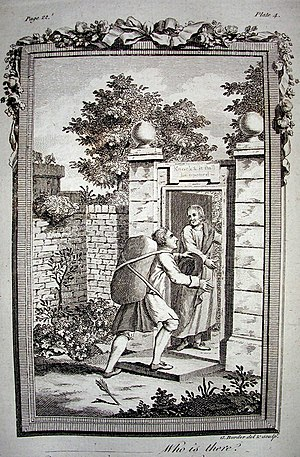 """Gravura de O Peregrino, publicada em 1778, mostra o peregrino adentrando o pequeno portão aberto por """"Boa-vontade""""."""
