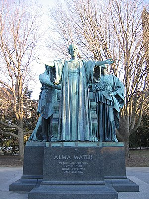 Front view of the Alma Mater statue