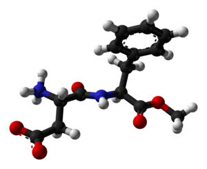 Ball-and-stick model of the aspartame molecule...