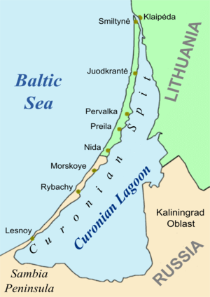 Map showing position of Rybachy (Rossitten)