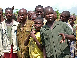 English: Former Child soldiers in eastern Demo...